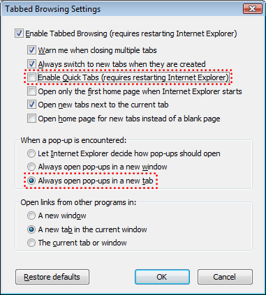 Tabbed surfing with IE7 and CRM: the Quick Tabs bug