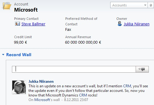 Post with a group mention on an account record wall