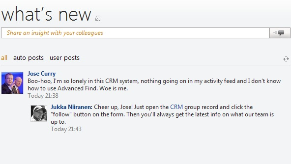 The new CRM user does not yet have any auto posts on his personal wall