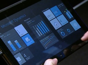 Microsoft Dynamics Metro app running on a Windows 8 tablet