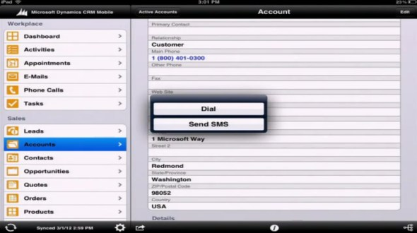 Microsoft Dynamics CRM Mobile iPad forms