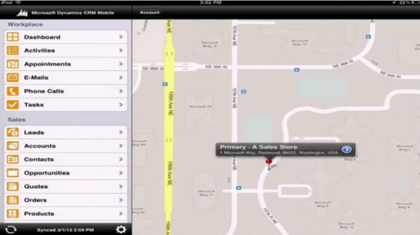 Microsoft Dynamics CRM Mobile iPad Google Maps