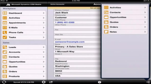 Microsoft Dynamics CRM Mobile iPad related records