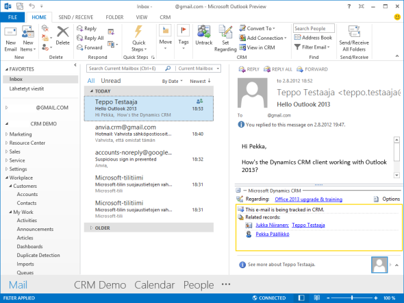 Windows 8, Office 2013 and Dynamics CRM 2011 Outlook client