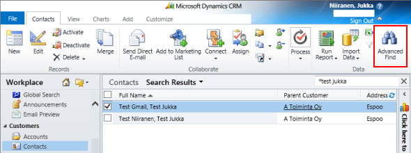 Finding Advanced Find in CRM 2013