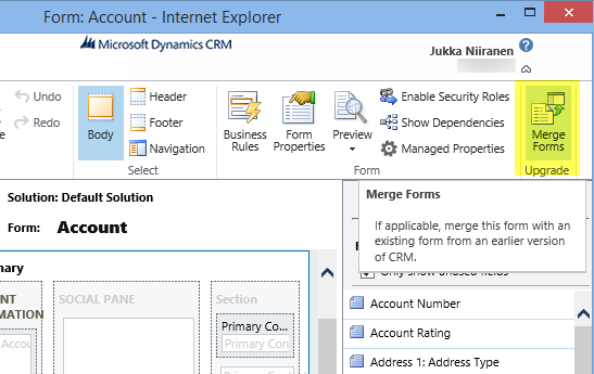 Don't Merge Your Forms in CRM 2013