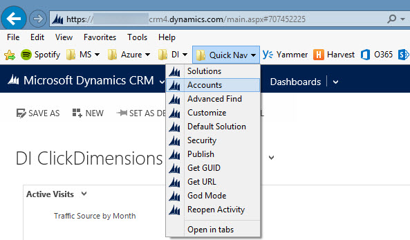 Dynamics CRM Navigation Hacking with Bookmarks