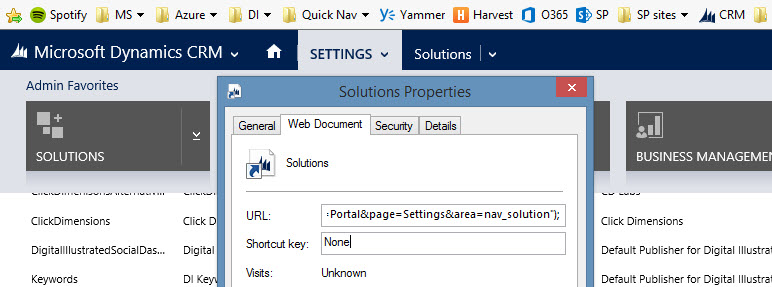 CRM Navigation Hacking with Bookmarks