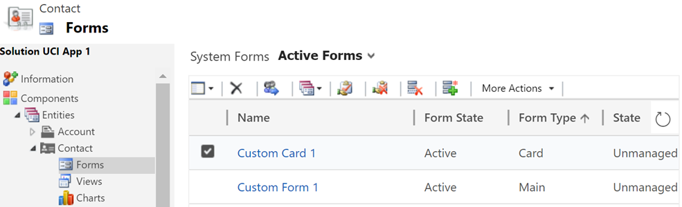 Card Forms and List Views in Unified Interface